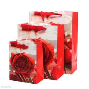 Small size high Quality Rose Flower Gift paper bag