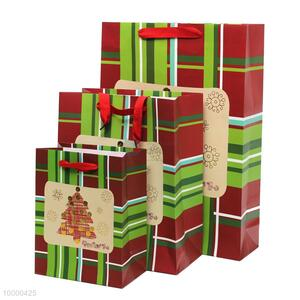 Small size high quality red-green gift paper bag for Christmas