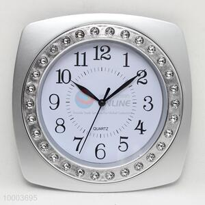 Sliver/Pink/Blue Square Wall Clock