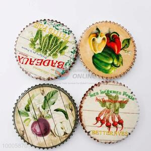 Wholesale Vegetable Round Fridge Magnet With Weave Border