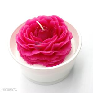 Wholesale Four Type Red Flower Candles Round Glass Craft/Glass Gift Candles