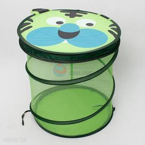 Green mesh storage basket with lid