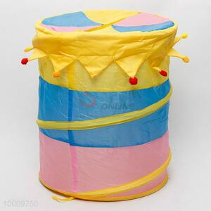 Colorful laundry basket with lid