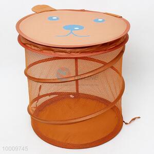 Brown mesh laundry basket