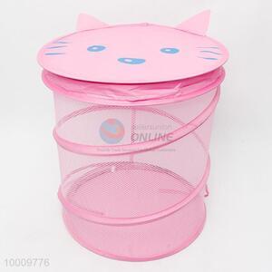 Pink mesh cartoon linen basket