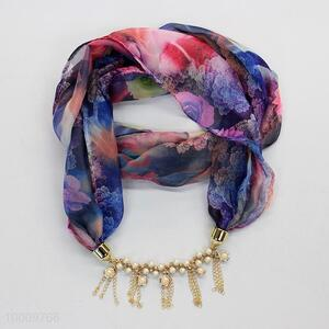 Floral ornament necklace/ Jeweled scarf