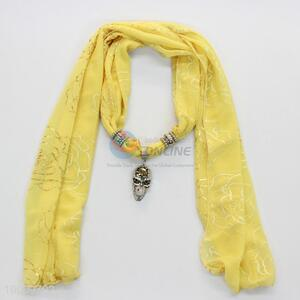 Lemon yellow scarves with alloy skull pendant