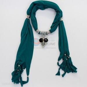 Dark green scarves with alloy owl pendent