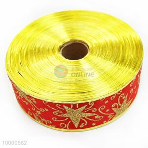 Wholesale Star Red Satin Ribbon With Gold Border