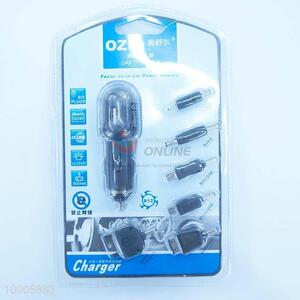6 In 1 USB Car Charger With V8/M300 And Colorful Lights