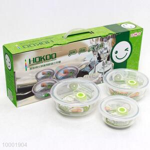 Hokoo 3 pcs tempered glass bowl with cover