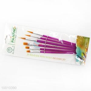 Wholesale 6 Pieces Purple Handle Artist Brush/Drawing Pen Set