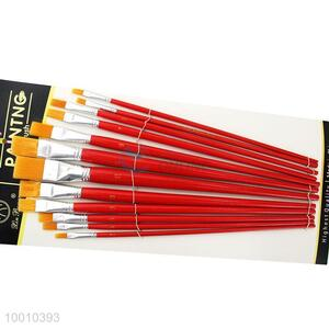 Wholesale 12 Pieces Red Handle Artist Brush/Drawing Pen Set