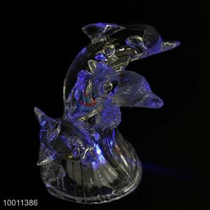Unique Three Dolphin Flashing Acrylic Artware Desktop