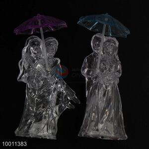14cm Couples Flashing Acrylic Artware for Wedding Souvenir