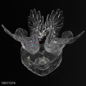 Big Double Swan with Heart Base Clear Artware Household Decoration
