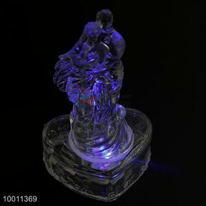 Couple with Big Heart Base Clear LED Acrylic Souvenir