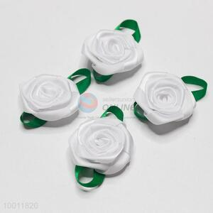 Garment accessory/satin rose flower with leaf