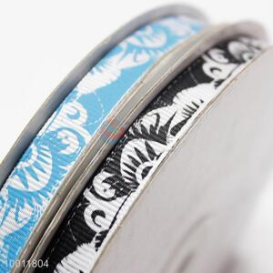 Soft flower printed grosgrain ribbon