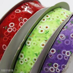 Flower printed galloon ribbon