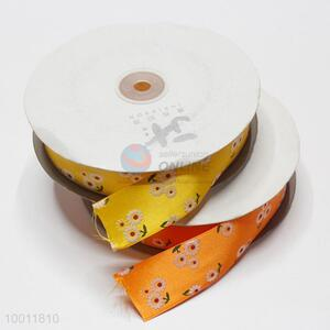 Good quality flower printed satin ribbon