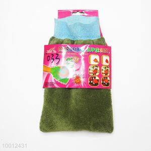 Wholesale Green Coral Fleece Spong Cleaning Gloves