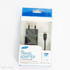 USB Travel Adapter With Detachable Cable