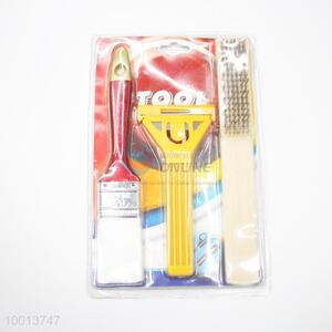 3pcs Hardware Tools Set of Cleaning Knife,Paint Brush and Wire Brush