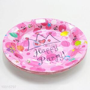 Wholesale 10pcs/bag Pink Paper Dish Birthday Party Decoration