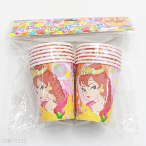 Pink Cartoon Pattern Paper Cups for Birthday Festive Party 10pcs/bag