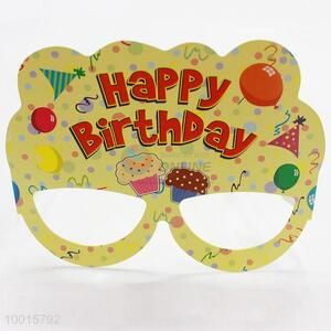 12pcs/bag Yellow Cartoon Pattern Paper Eyewear Birthday Party Decoration