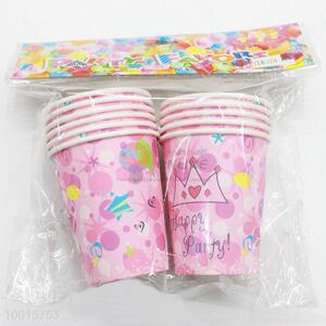 10pcs/bag Pink Paper Cups for Birthday Festive Party