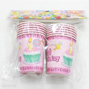 10pcs/bag Cute Pink Paper Cup for Birthday Party