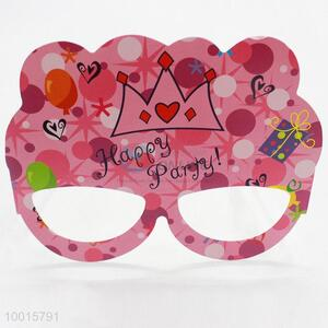 12pcs/bag Pink Cartoon Pattern Paper Eyewear Birthday Party Decoration