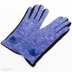 Blue Ladies' Fashionable Sacking Gloves