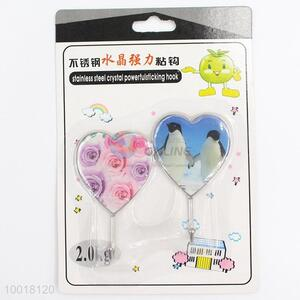 Stainless Steel Crystal Powerful Sticking Hook in Heart Shape