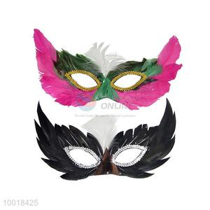 Fashion Feather Rose Red/Black Half Face Party Mask
