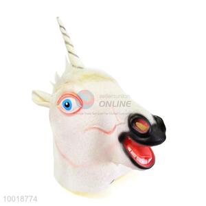 White Horse with Horn Shaped Full Mask For Halloween