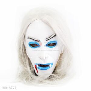 Terrible White Long Hair Phantom Lady Full Mask For Halloween