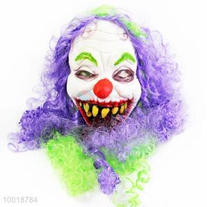 Ugly Clown with Purple Curly Hair Full Mask for Halloween