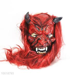 Horrible Full Mask with Red Long Hair for Halloween