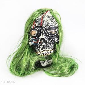 Competitive Price Ugly Skull with Green Long Hair