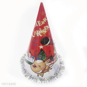 Merry Christmas Party Paper Hat with Silver Fringe