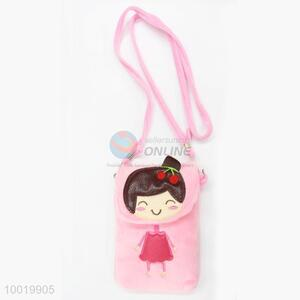 New Fashion High Quality Little Girl Pink Plush Mobile Phone Bags