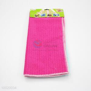 3 Pieces Fiber Rose Red Mesh Cleaning Towel