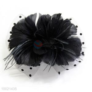 Black Feather Flower Mesh Bow Brooch and Hair Clips