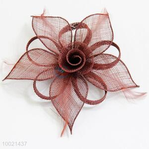 Feather Brown Flower Hair Clip for Women