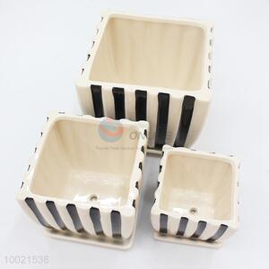 Modern 3 pcs white-black stripe square flower pot