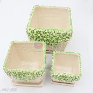 3pcs ceramic square flower pot