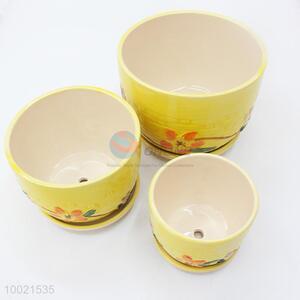 Yellow 3 pcs ceramics flower pot set